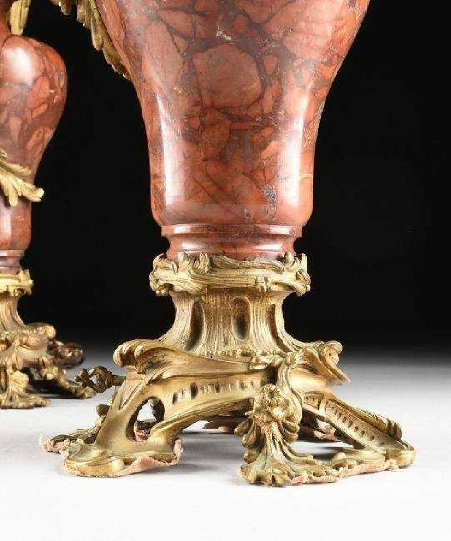 A GOOD PAIR OF DORE BRONZE & ROUGES MARBLE CANDELABRA - 2