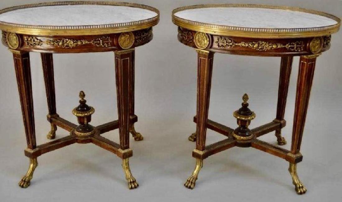 PAIR OF LOUIS XVI STYLE ORMOLU MOUNTED MARBLE TOP TABLE