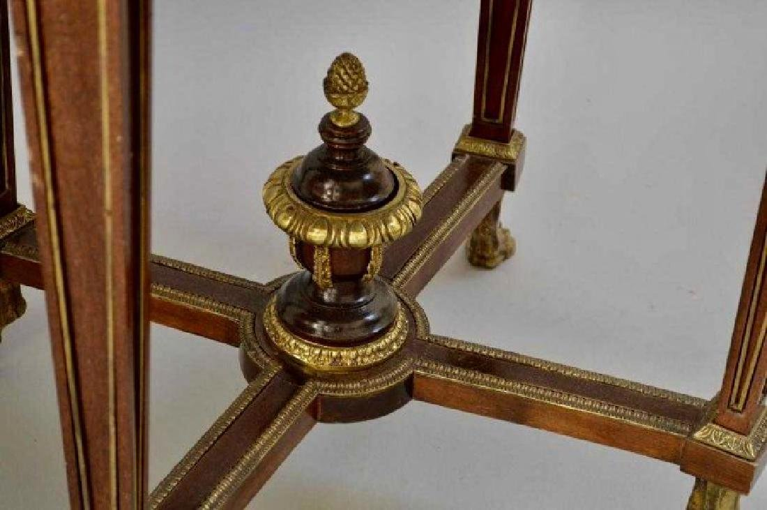 PAIR OF LOUIS XVI STYLE ORMOLU MOUNTED MARBLE TOP TABLE - 3