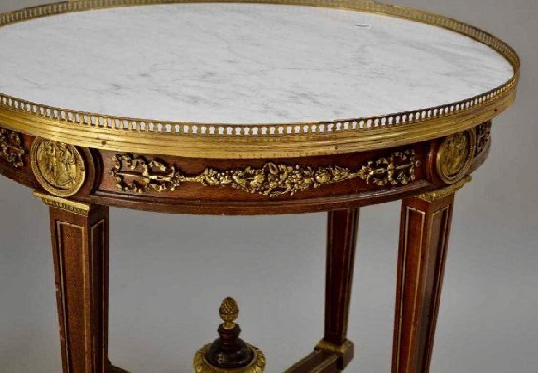 PAIR OF LOUIS XVI STYLE ORMOLU MOUNTED MARBLE TOP TABLE - 4