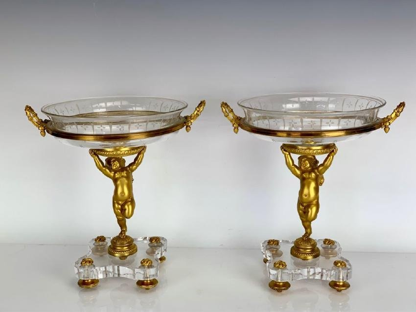 PAIR OF 19TH C. SIGNED BACCARAT AND DORE BRONZE TAZZA