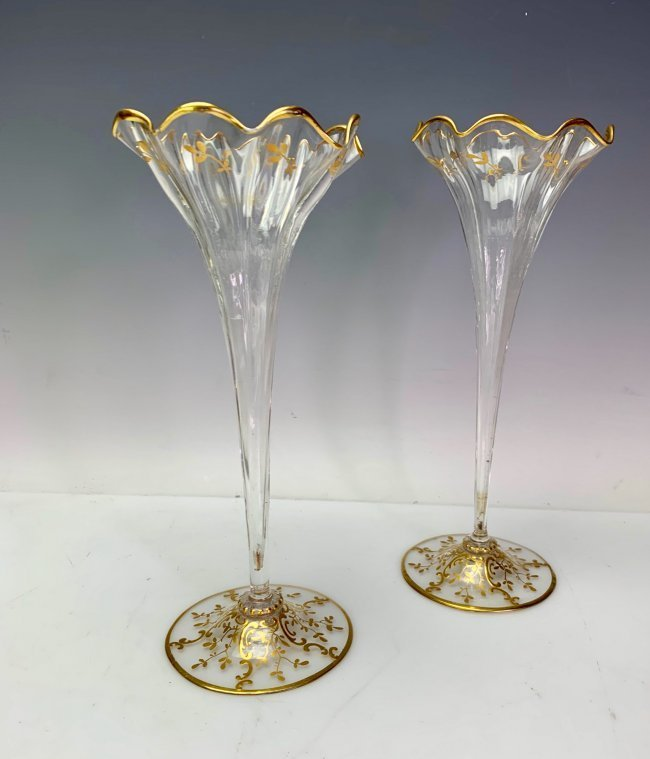 A PAIR OF GILT AND ENAMELED MOSER VASES
