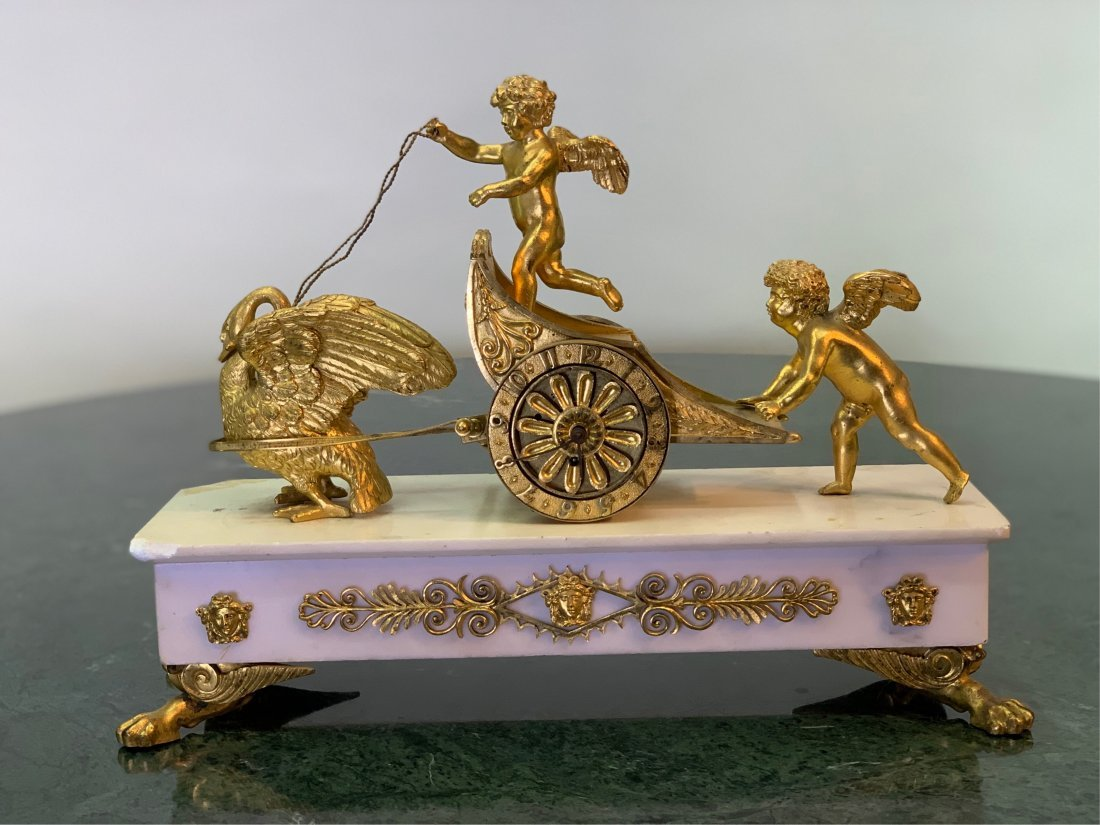 19TH C. FRENCH DORE BRONZE AND MARBLE CLOCK