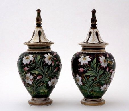 A MAGNIFICENT PAIR OF BOHEMIAN GLASS VASES - 2