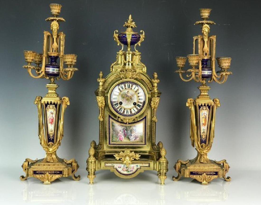 AN IMPOSING 19TH C. JEWELED SEVRES AND ORMOLU CLOCK SET - 2