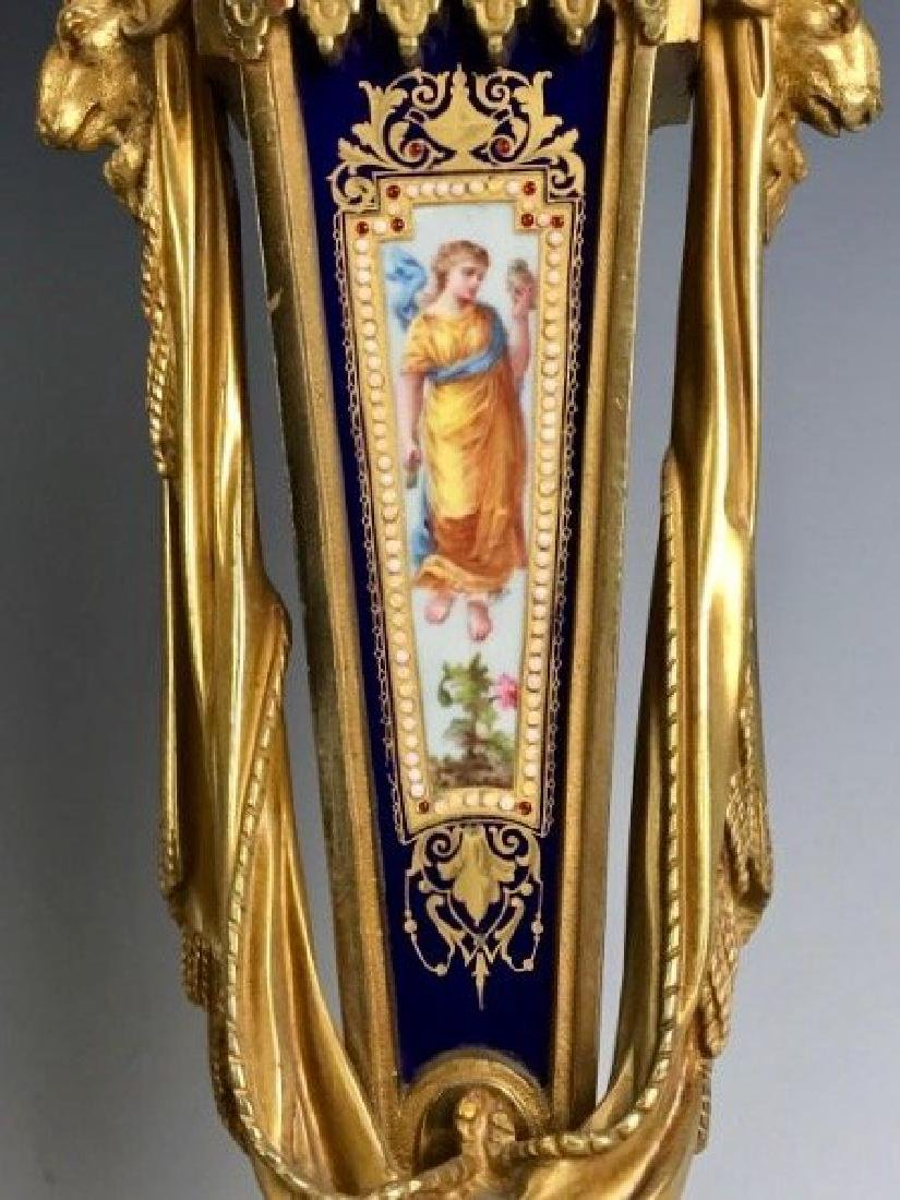 AN IMPOSING 19TH C. JEWELED SEVRES AND ORMOLU CLOCK SET - 3