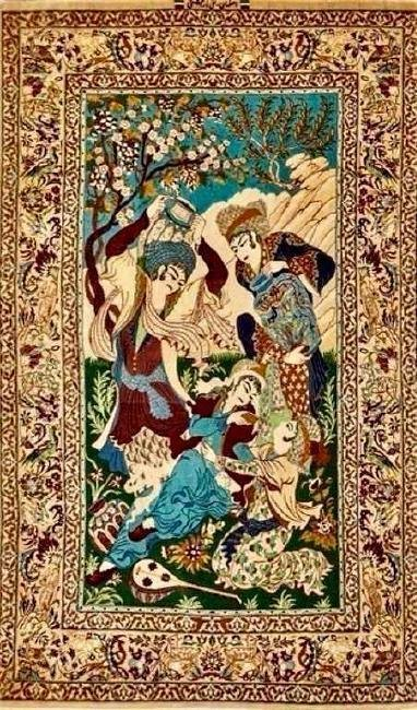 A FINE PERSIAN ISPHAHAN PICTORIAL RUG