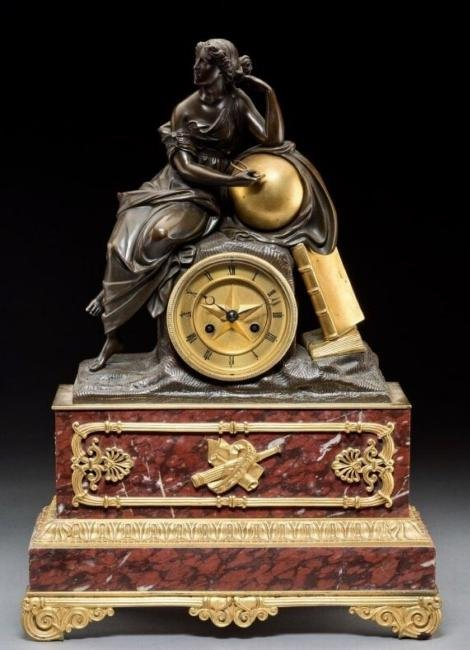 EMPIRE STYLE DORE BRONZE MOUNTED ROUGES MARBLE CLOCK