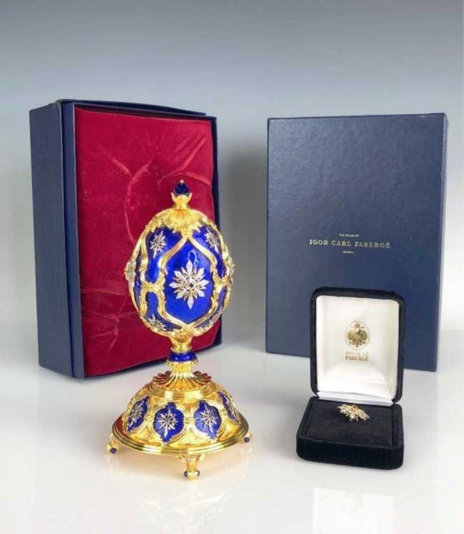 FABERGE STERLING SILVER AND DIAMOND INLAID MUSICAL EGG
