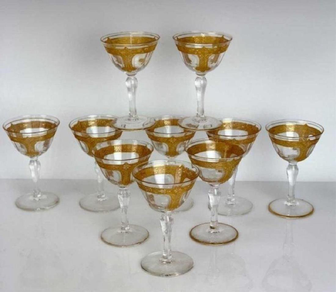 SET OF 9 SAINT LOUIS GILT CHAMPAGNE GLASSES