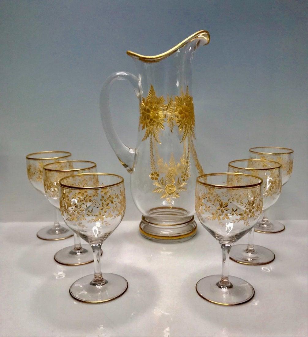 GILT MOSER DRINKING SET CIRCA 1900