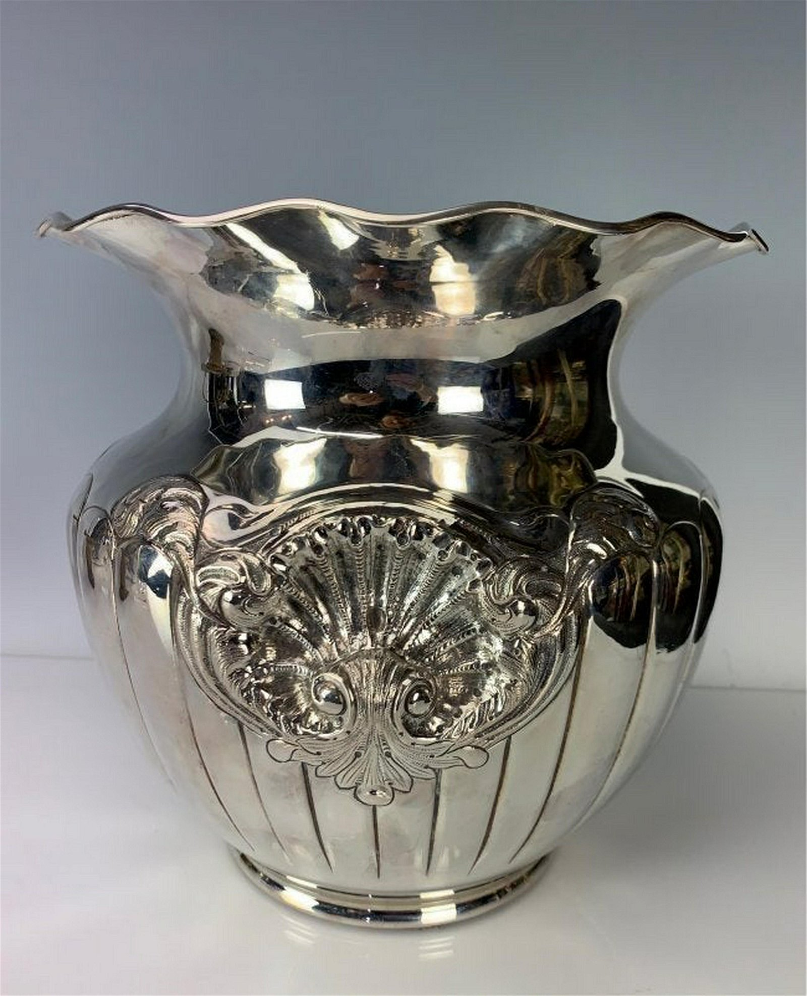 A LARGE ITALIAN STERLING SILVER VASE