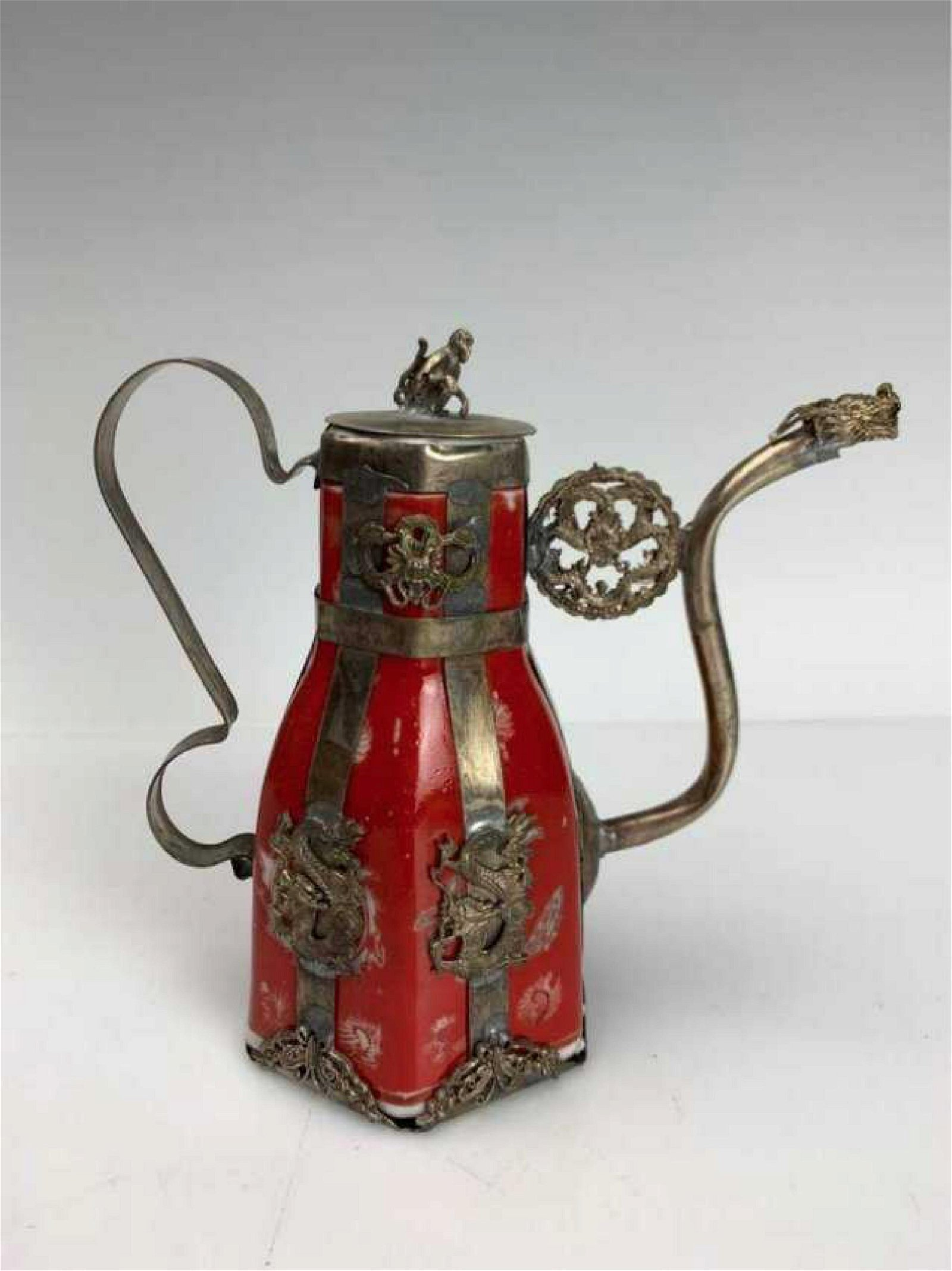 CHINESE CLAD SILVER ENAMEL AND PORCELAIN TEA POT