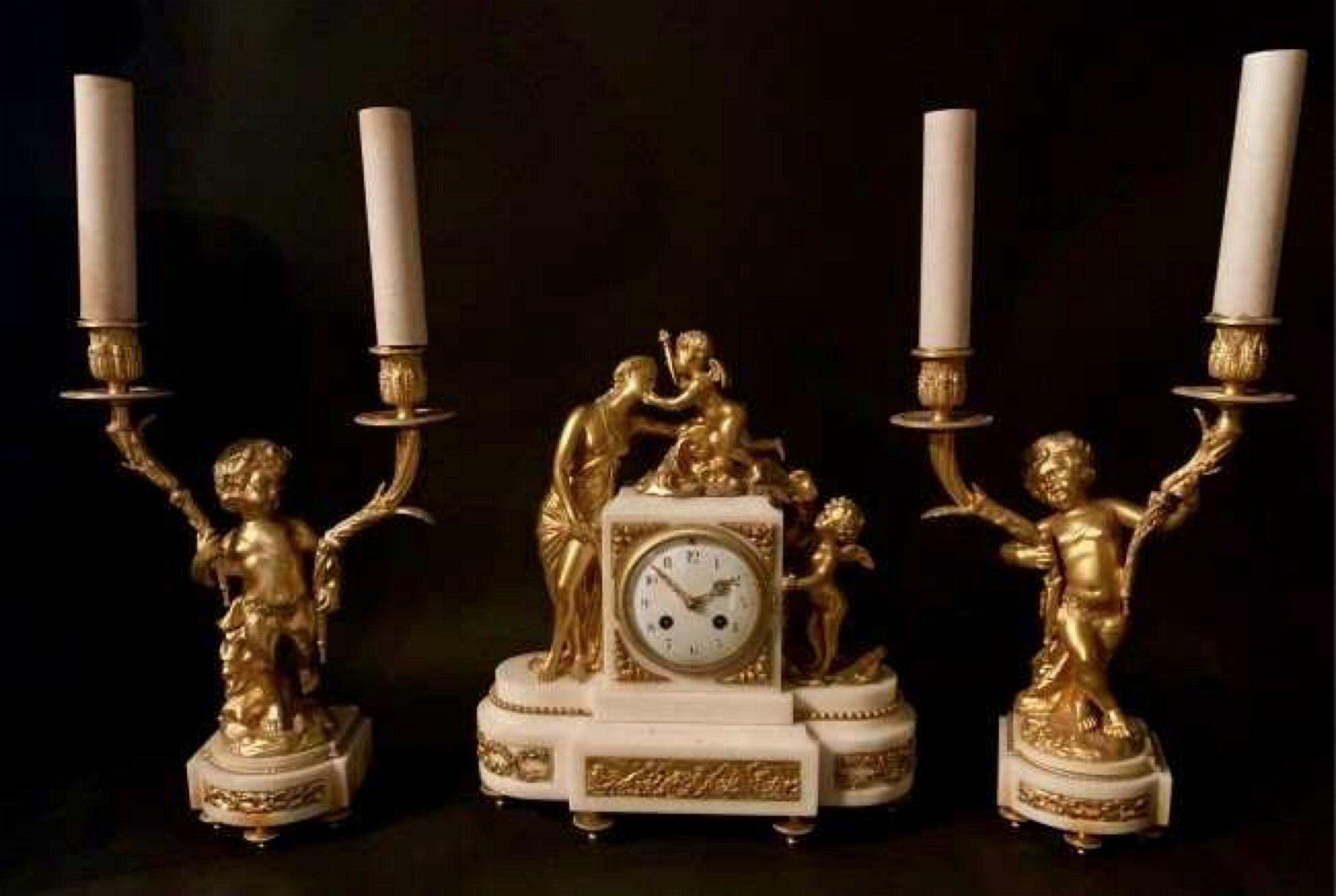 FRENCH DORE BRONZE AND WHITE MARBLE CLOCK SET