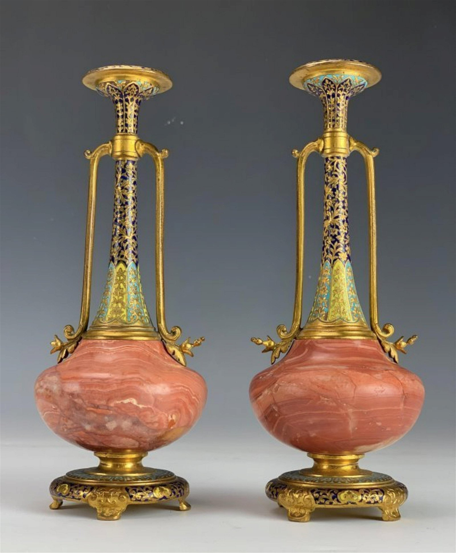A PAIR OF 19TH C. CHAMPLEVE ENAMEL VASES