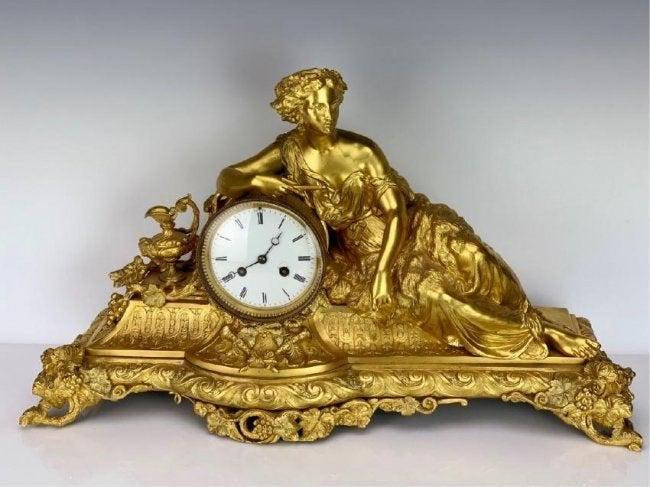 A LARGE 19TH C. FRENCH DORE BRONZE CLOCK