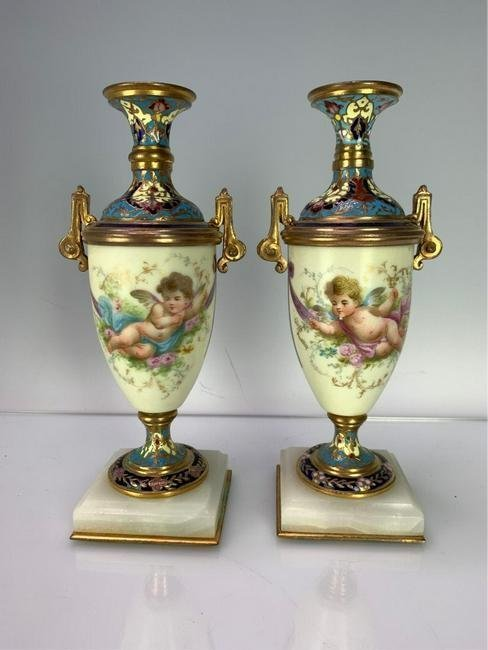 PAIR OF 19TH C. FRENCH CHAMPLEVE ENAMEL AND SEVRES VASE