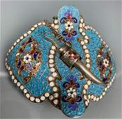 RUSSIAN SILVER ENAMEL BELT BUCKLE
