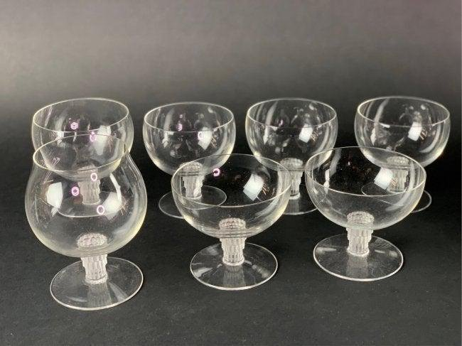 SET OF 7 ASSORTED LALIQUE GLASSES