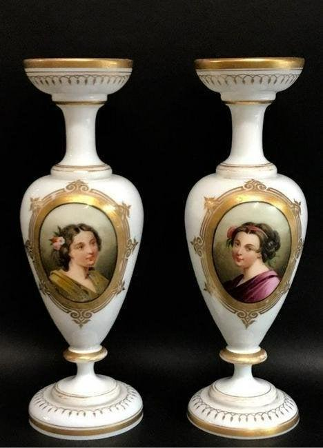 A PAIR OF BACCARAT OPALINE VASES