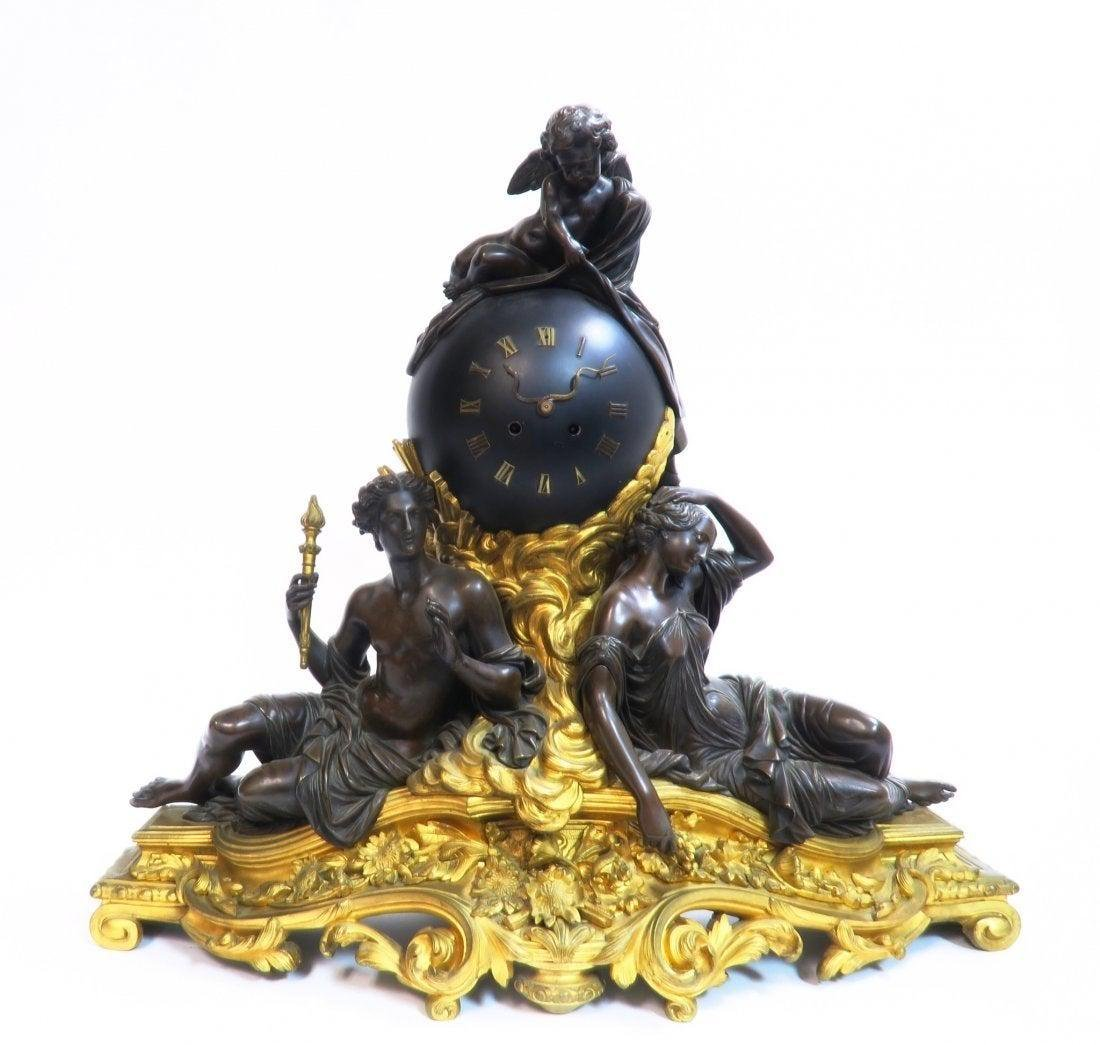 LARGE FRENCH FIGURAL BRONZE CLOCK