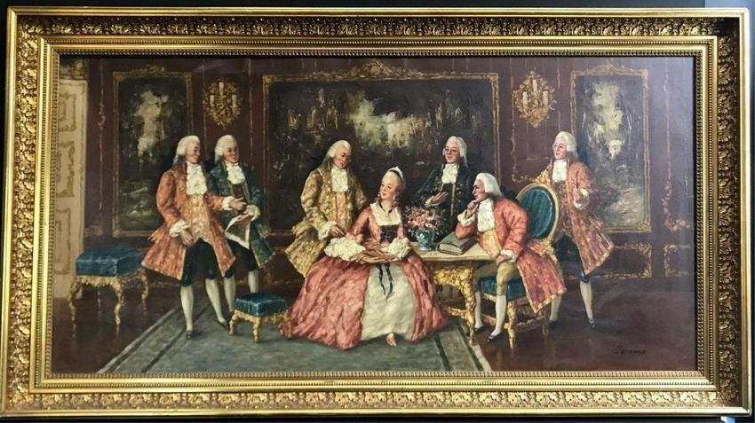 A LARGE ANTIQUE ITALIAN OIL PAINTING ON CANVAS