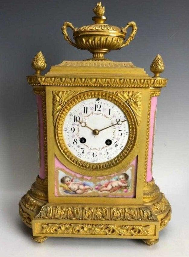 19TH C. FRENCH DORE BRONZE & SEVRES PORCELAIN CLOCK