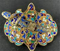RUSSIAN SILVER AND ENAMEL BELT BUCKLE