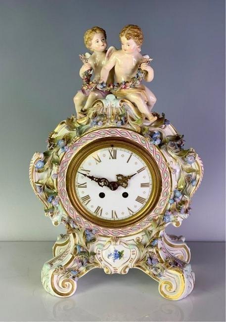 19TH C. MEISSEN FIGURAL CLOCK