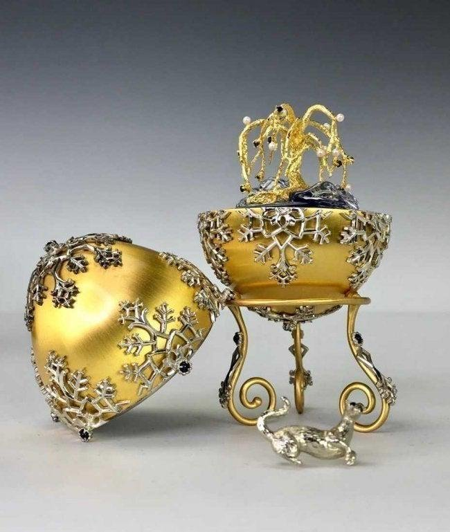 IMPERIAL JEWELED STERLING FABERGE EGG