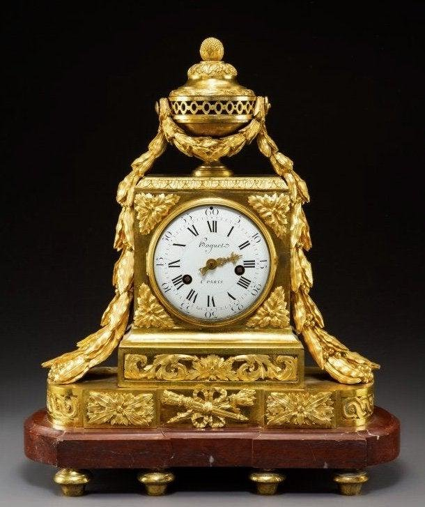 19TH C. DORE BRONZE MOUNTED & ROUGE MARBLE CLOCK