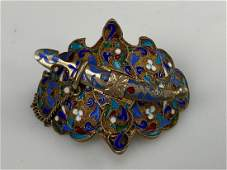 ANTIQUE RUSSIAN SILVER ENAMEL BELT BUCKLE