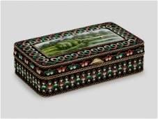 19TH C RUSSIAN SILVER ENAMEL BOX