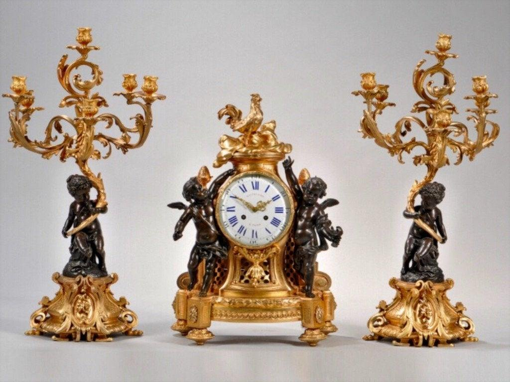 A LARGE LOUIS XV STYLE FIGURAL CLOCK SET CIRCA 1880