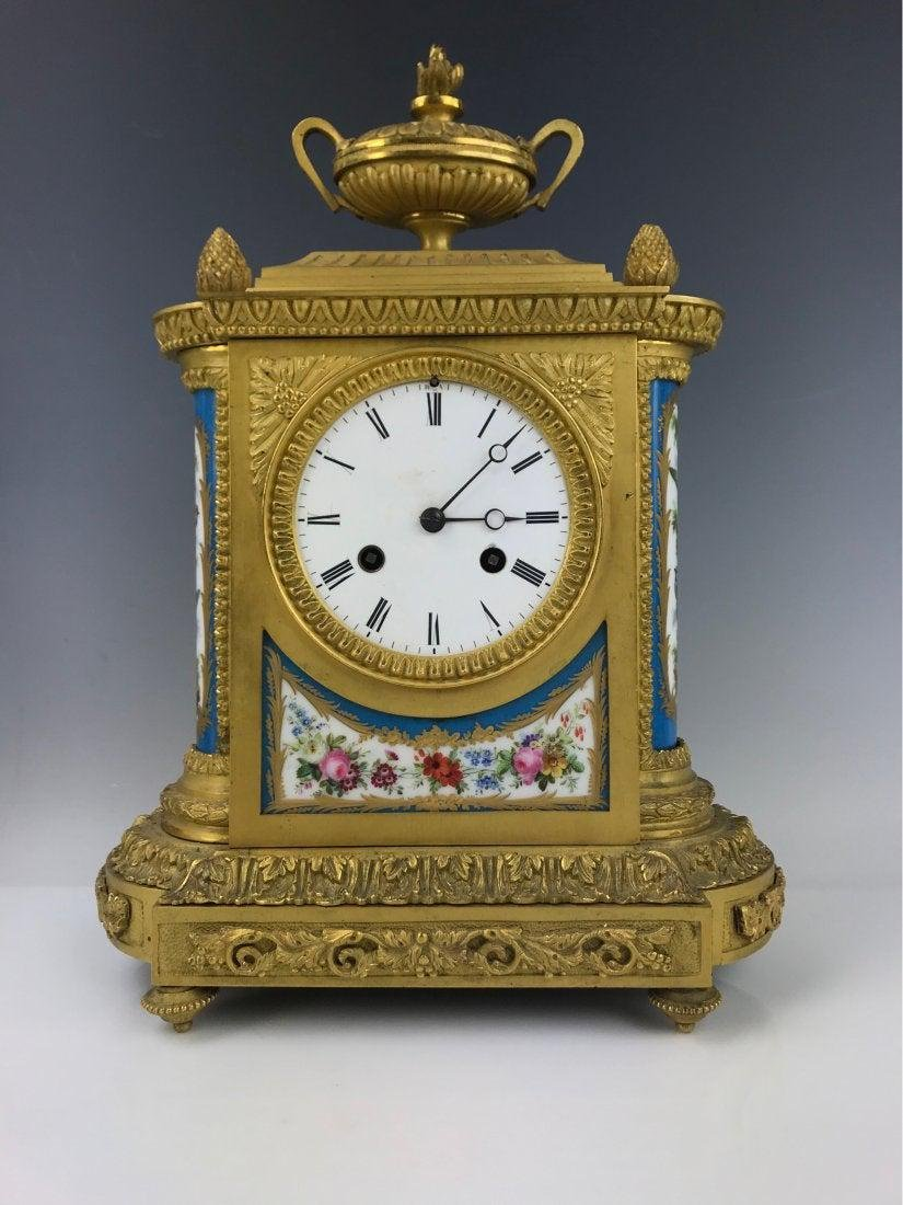19TH C. DORE BRONZE MOUNTED JEWEED SEVRES CLOCK