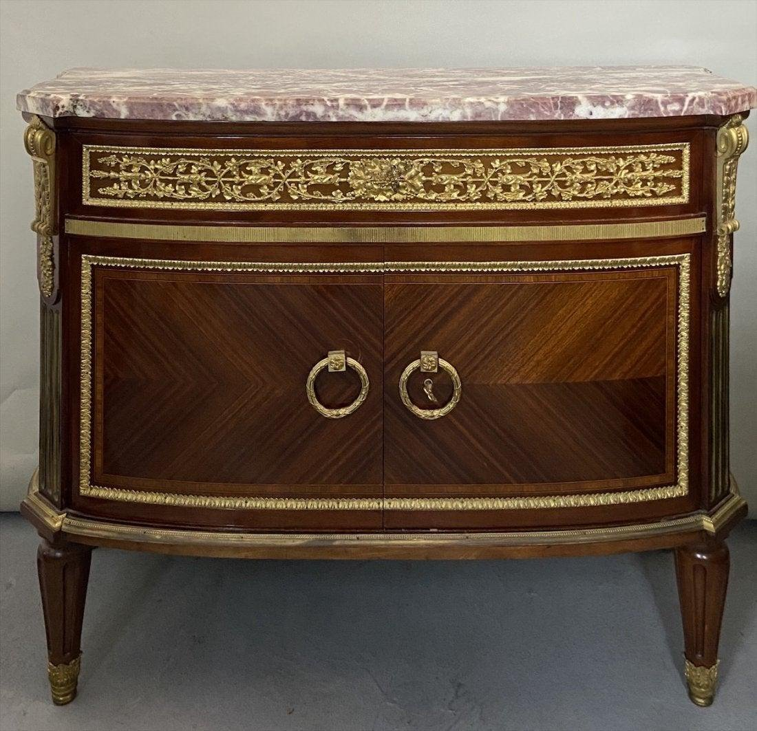 19TH C. DORE BRONZE MOUNTED MARBLE TOP COMMODE