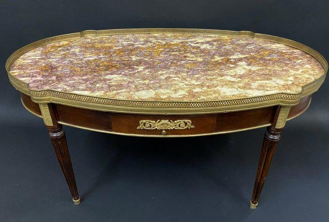 DORE BRONZE MOUNTED MARBLE TOP COFFEE TABLE