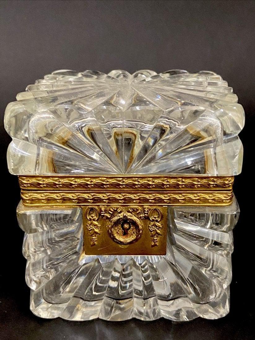19TH C. ORMOLU MOUNTED BACCARAT CRYSTAL JEWELRY BOX