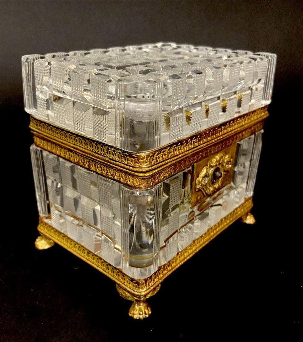 EMPIRE STYLE ORMOLU MOUNTED BACCARAT GLASS BOX