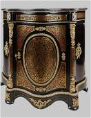 ANTIQUE ORMOLU MOUNTED MARBLE TOP BOULLE CABINET