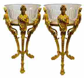 A PAIR OF FIGURAL DORE BRONZE & CRYSTAL JARDENIERS
