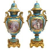 AN IMPOSING PAIR OF 19TH C. ORMOLU MOUNTED SEVRES VASES