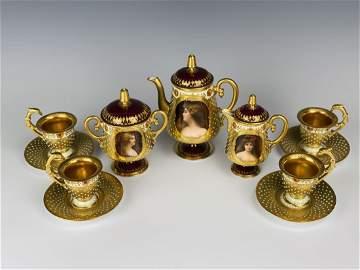 A MAGNIFICENT JEWELED DRESDEN TEA SET CIRCA 1900