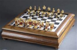 IMPERIAL FABERGE 24KT GOLD OVER SILVER CHESS SET