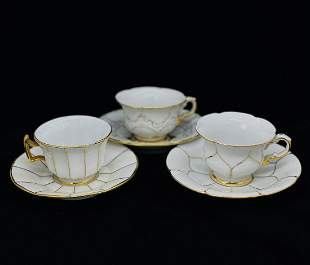 SET OF 3 MEISSEN CUP AND SAUCERS.