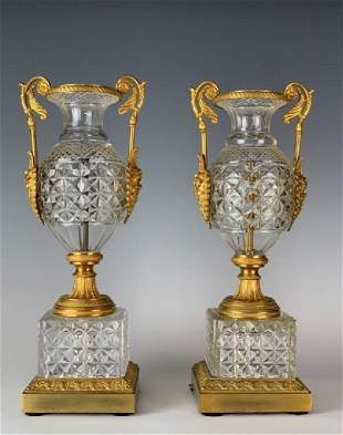 GOOD PAIR OF DORE BRONZE AND BACCARAT GLASS VASES