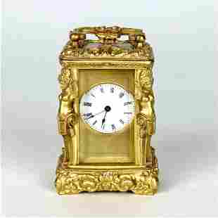 MAGNIFICENT MINIATURE FRENCH DORE BRONZE CARRIAGE CLOCK