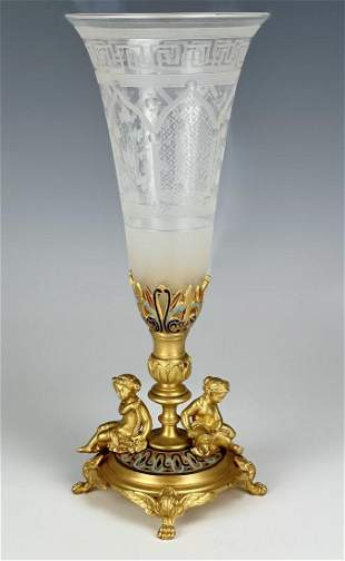 19TH C. FRENCH CHAMPLEVE ENAMEL & BACCARAT GLASS VASE