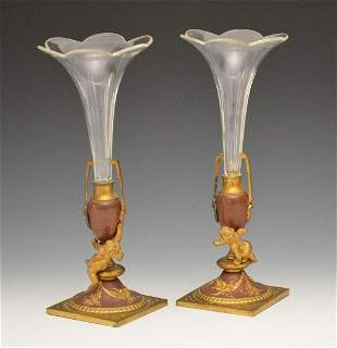 A PAIR OF BRONZE AND BACCARAT GLASS VASES