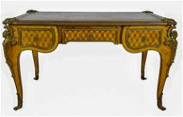 19TH C. ORMOLU MOUNTED FRENCH PARQUETRY DESK